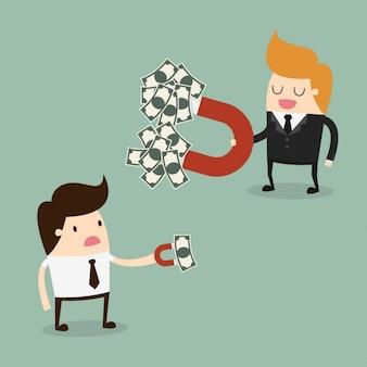 Boss und mitarbeiter mit einem magneten geld