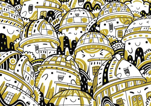 Bosscha-doodle im flachen design-stil