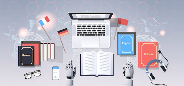 Bot am arbeitsplatz modernen roboter übersetzen