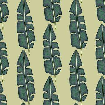 Botanik-dschungel nahtloses muster mit hellblauen palmblättern ornament. beige hintergrund. doodle-stil. grafikdesign für packpapier und stofftexturen. vektor-illustration.