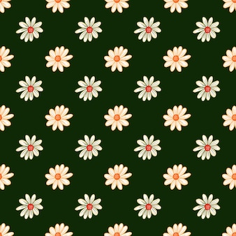 Botanik nahtloses muster mit dekorativer gänseblümchen-blumenverzierung. dunkelgrüner heller hintergrund. vektordesign für textilien, stoffe, geschenkpapier, tapeten.