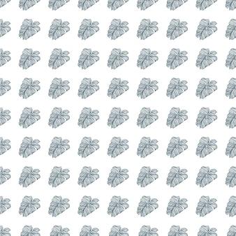 Botanik nahtloses muster mit kleinen blauen konturen konturierte monstera-silhouetten drucken. isolierte verzierung.