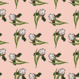 Botanik nahtloses naturmuster mit zufälliger grüner irisblumenverzierung. rosa heller hintergrund. vektorillustration für saisonale textildrucke, stoffe, banner, hintergründe und tapeten.