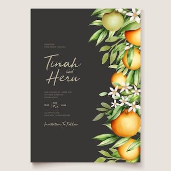Botanische aquarellorangenfruchthochzeitseinladungskartenschablone