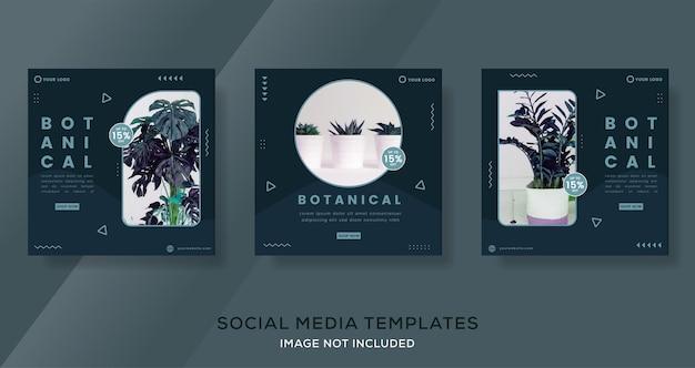 Botanische bannervorlage für social media post premium