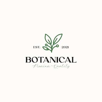 Botanische blatt-monoline-logo-vorlage in weißem hintergrund isoliert