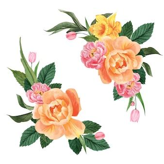 Botanische blume aquarell bouquet eleganz blühen