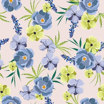 Botanische blumen mit nahtlosem blumenmuster. hand gezeichneter stil.