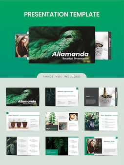 Botanische broschüre vorlage mit grüner farbe.