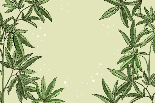 Botanische cannabisblatt-tapete mit leerem raum