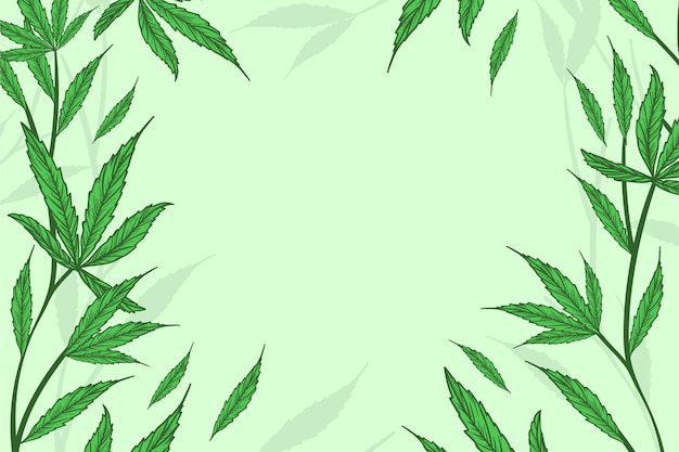 Botanische cannabisblatt-tapete