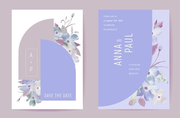 Botanische einladungskarte zur hochzeit mit blumen. boho-frühlingsblütenplakat, rahmensatz, moderner minimaler violetter vorlagenvektor. save the date trendiges design, luxusbroschüre