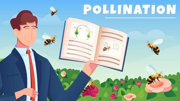 Botanische flache horizontale komposition mit männlichem charakter demonstrierte handbuch