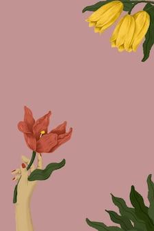 Botanische frau, die eine blumenillustration hält