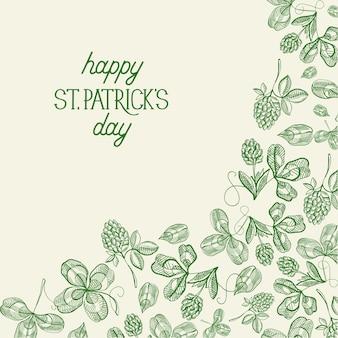 Botanische grußkarte des grünen st. patricks day mit inschrift und handgezeichneter irischer kleevektorillustration