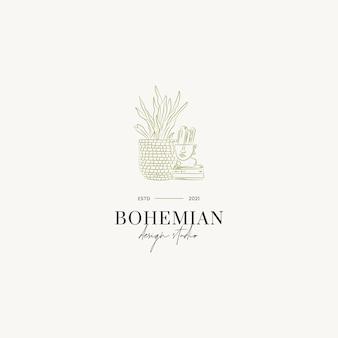 Botanische hand gezeichnete linie kunstvektorlogo-designschablone