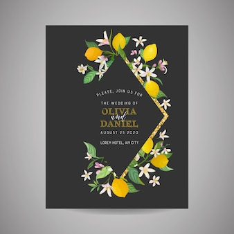 Botanische hochzeitseinladungskarte, vintage save the date, vorlagendesign von zitronenfruchtblumen und -blättern, blütenillustration. trendiges vektorcover, grafisches poster, broschüre