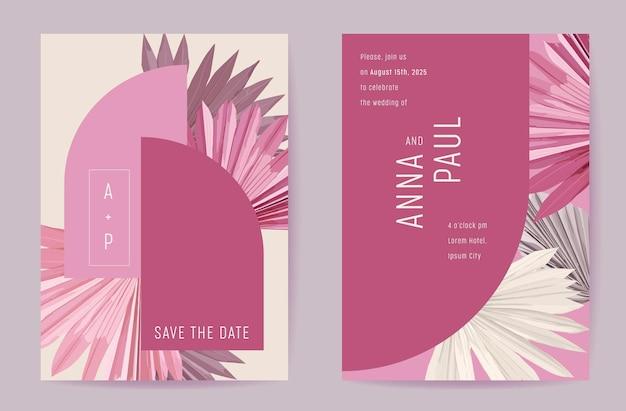 Botanische hochzeitskarte der blumeneinladung, tropisches palmtrockenblattplakat der boho, rahmensatz, moderner minimaler violetter vorlagenvektor. save the date goldenes laub trendiges design, luxusbroschüre