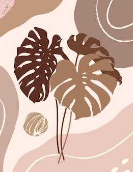 Botanische kunst mit tropischen monstera-blättern und organischen formen im minimal trendigen stil. abstrakte vektorgrafik in pastellfarben für print, cover, karte, tapete, poster, social media stories