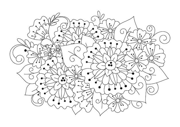 Botanische malvorlage für kinder und erwachsene. kunstrichtung. schwarzweiss-hintergrund zum färben.