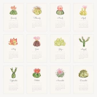 Botanische monatskalendervorlage 2022, kaktusillustrationsvektorsatz