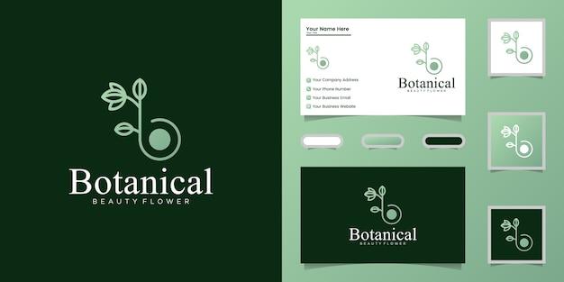 Botanische strichzeichnungen des buchstabens b, logoentwurf und visitenkarte