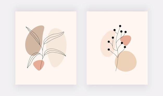 Botanische strichzeichnungen wandkunstdrucke mit braunen formen und schwarzen blättern.