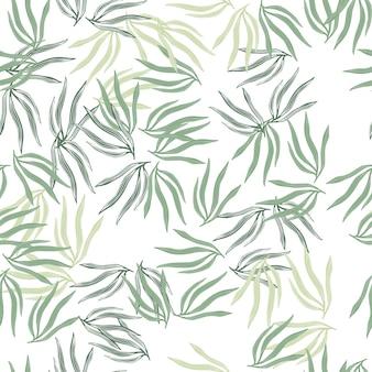 Botanische tropische blätter semless muster. abstraktes tropisches blatt lokalisiert auf weißem hintergrund.