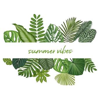 Botanische vektorillustration der tropischen blätter