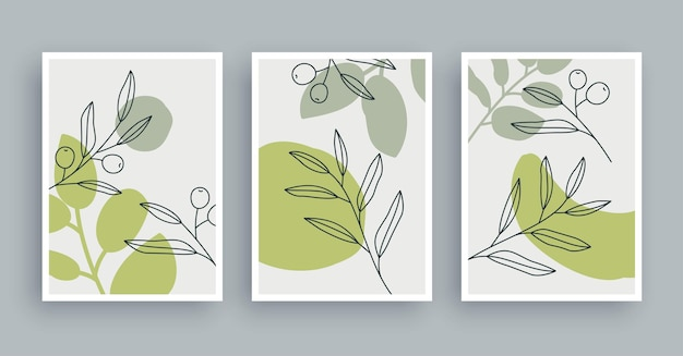 Botanische wandkunst malerei hintergrund laubkunst und handgezeichnete linie mit abstrakter form