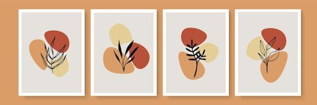 Botanische wandkunst-vektor-set. erdton hintergrund laub strichzeichnungen mit abstrakter form und aquarell. design für gerahmte wanddrucke, leinwanddrucke, poster, wohnkultur, cover, tapeten