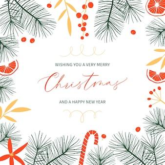 Botanische weihnachtsgrußkarte mit tannenzweigen und platz für text.