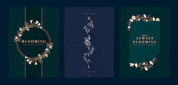 Botanischer blumenkartensatz