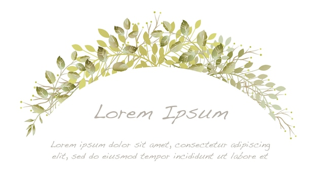 Botanischer bogenhintergrund des aquarells lokalisiert auf einem weißen hintergrund.