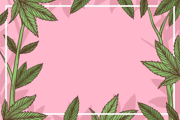 Botanischer cannabisblatthintergrund mit leerem raum