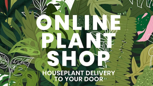Botanischer hintergrund der blogfahnenschablonenvektor mit online-pflanzenshop-text