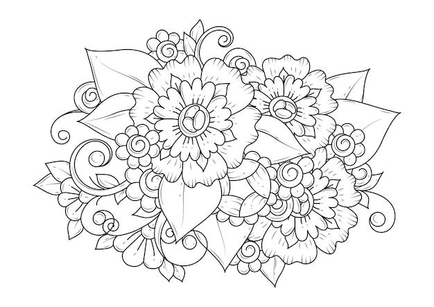 Botanischer hintergrund zum färben. malvorlagen für kinder und erwachsene. kunstrichtung.