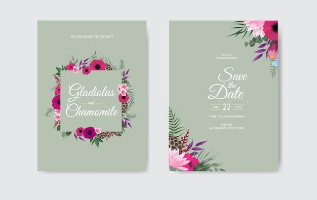 Botanischer hochzeitseinladungskartenschablonenentwurf, mit rosa blumen
