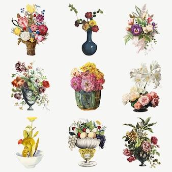 Botanischer illustrationssatz der weinleseblumen