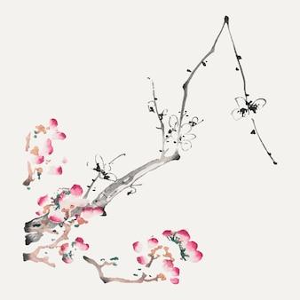 Botanischer kunstdruck mit blumenvektor, neu gemischt aus kunstwerken von hu zhengyan