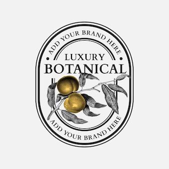Botanischer logovektor des luxusgeschäfts mit walnuss für organische schönheitsmarke