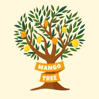 Botanischer mangobaum des flachen entwurfs mit früchten