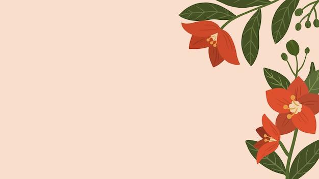 Botanischer roter blumenkopienraumhintergrund