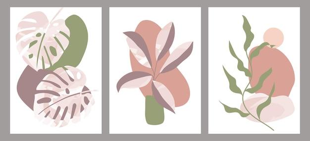 Botanischer satz abstrakter kreativer handgemalter illustrationen mit dekorativen zweigen und blättern. wandkunstzeichnung mit abstrakter form. für postkarten, poster, social media story-design.