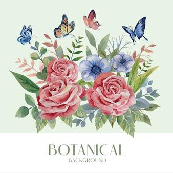 Botanischer stil der roten rose und des blauen blumenstraußes des aquarells mit schmetterling auf grüner hintergrundillustration
