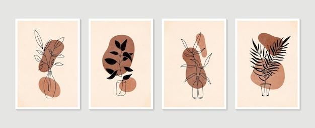 Botanischer wandkunstvektorsatz. minimale und natürliche wandkunst. boho laubzeichnung mit abstrakter form.
