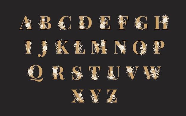Botanisches alphabet großbuchstaben-vektorsatz