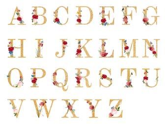 Botanisches Alphabet mit tropischer Blumenillustration