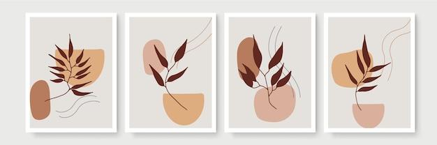 Botanisches aquarell-wandkunstset. erdton boho laub strichgrafik zeichnung mit abstrakter form.
