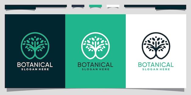 Botanisches baumlogodesign mit linie kunststil und kreiskonzept premium-vektor